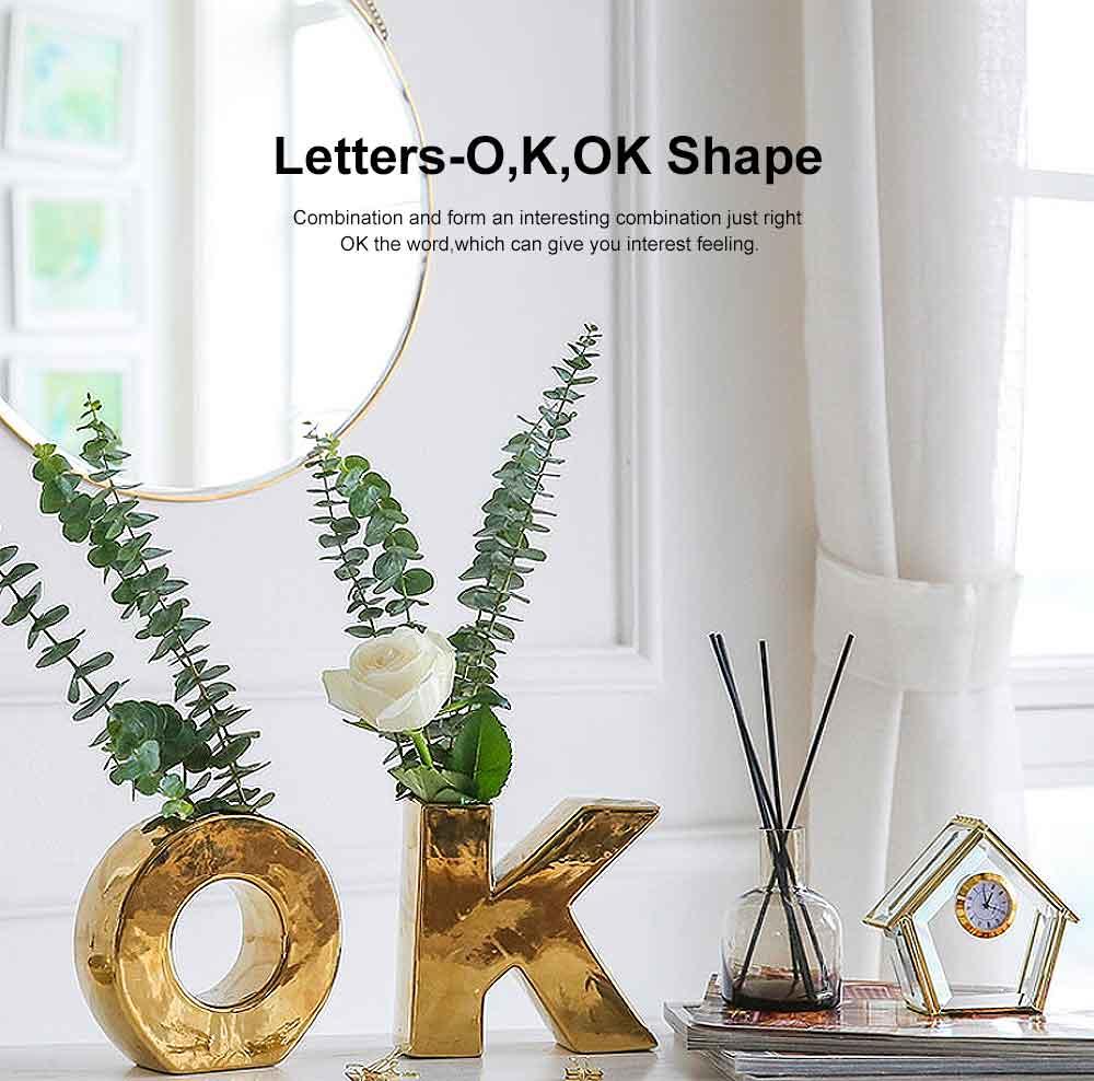 Gold Ceramic Vase with OK Shape & Non-slip Bottom, Electric Paint Spraying Vase 4
