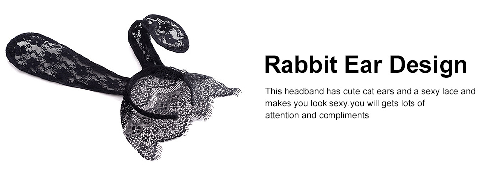 Women Lace Nightclub Party Headwear with Rabbit Ears Design, Headband for Costume Accessory 2