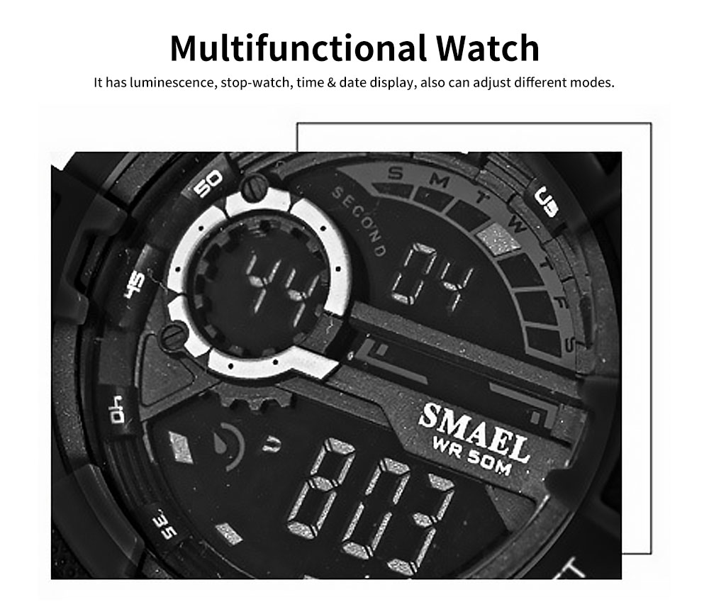 Men's Waterproof Sport Watch, Shockproof Digital Watch with Stainless Steel for Outdoor Use 1