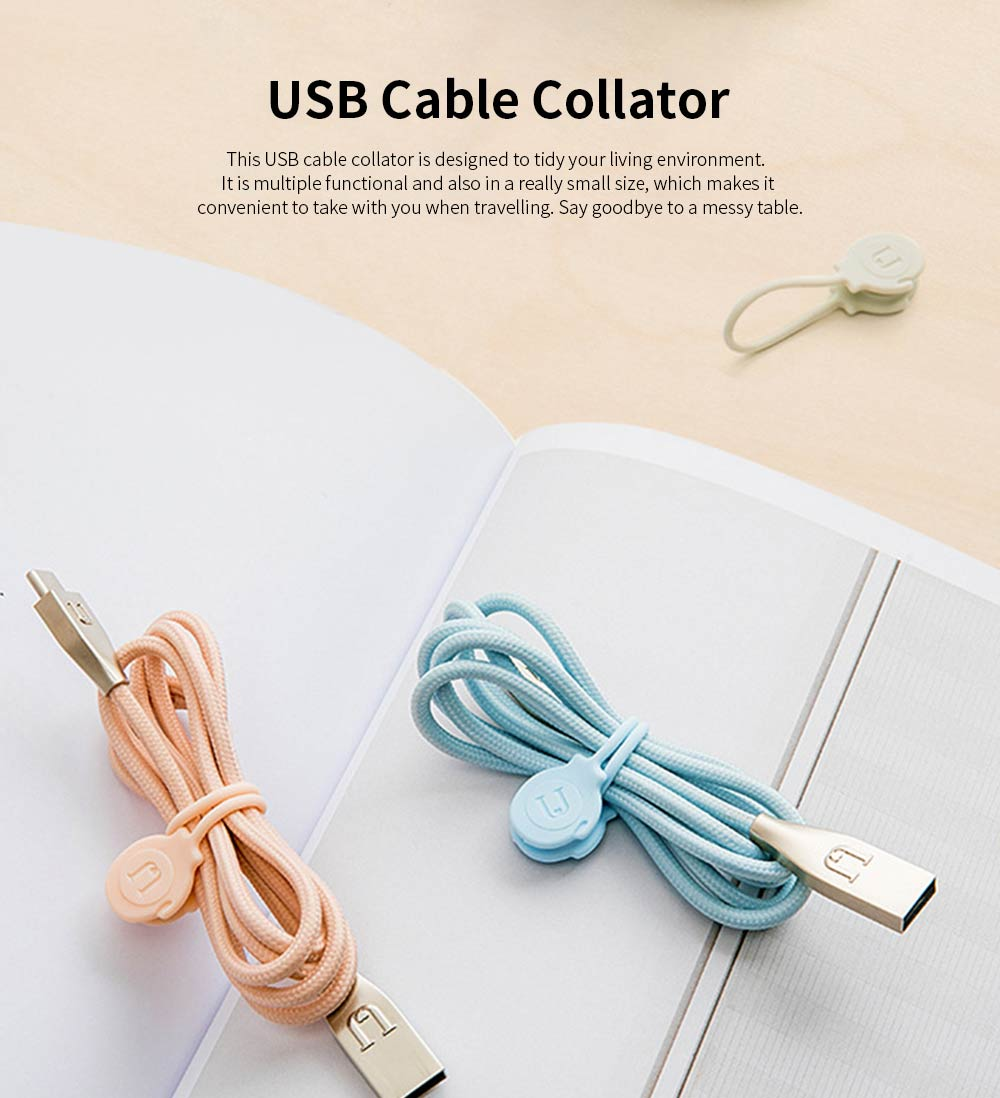 USB Cable Collator for Charging Lines, 3PCS Silicone Magnetometric Band 0