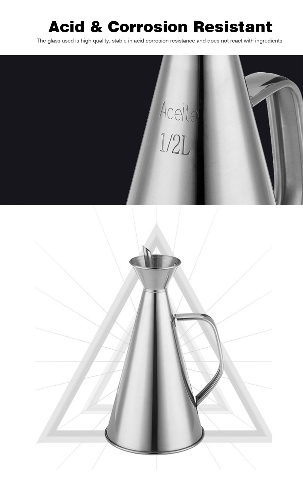 Stainless-steel Oil Can, Soy Sauce Bottle with Long Leak-proof Spout 7