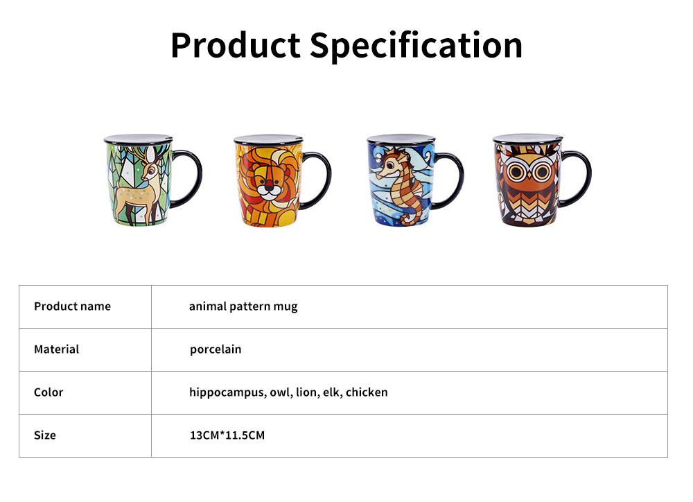 Animal Print Mugs, High Capacity Ceramic Tea Mug With Spoon 6