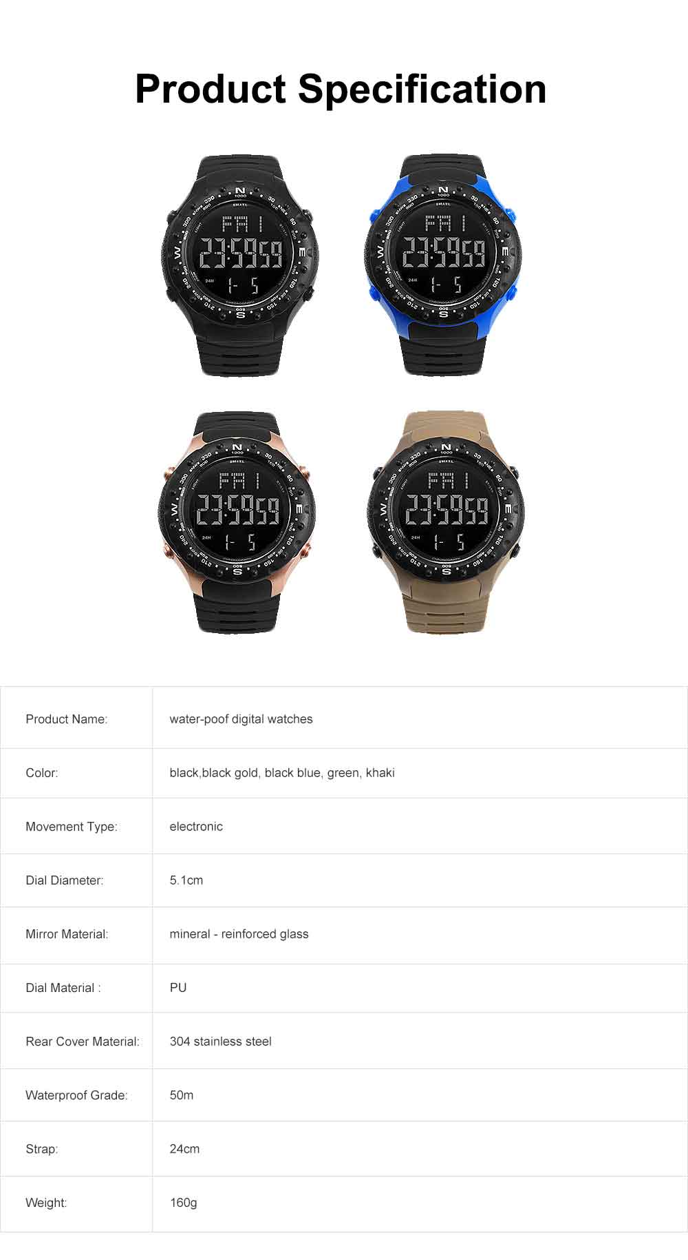 Multifunctional Water-poof Digital Watches, Smart Electronic Watch with TPU Strap 6