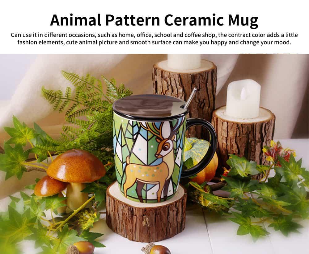 Animal Print Mugs, High Capacity Ceramic Tea Mug With Spoon 0