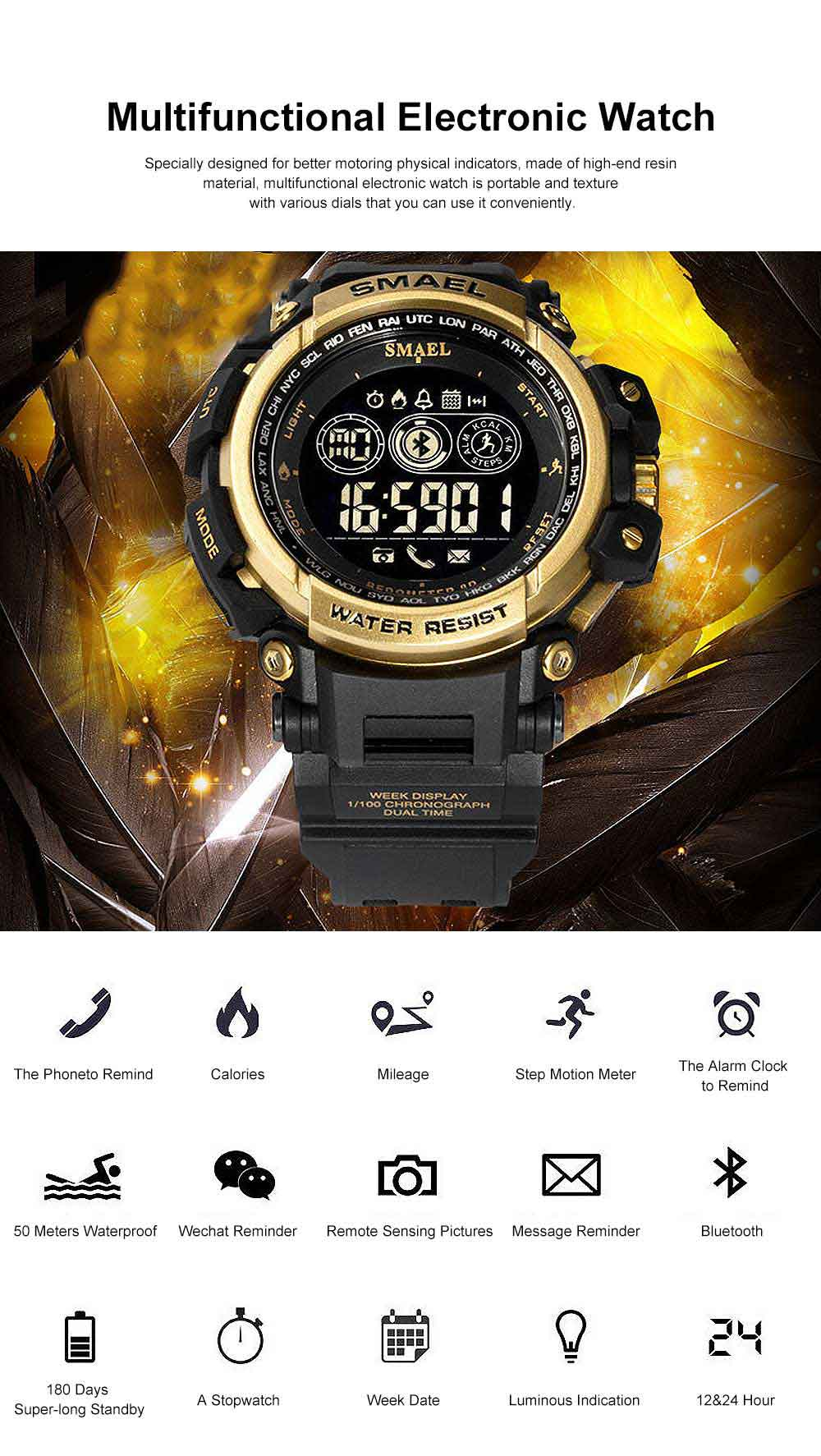 Water-poof Smart Bracelet with Resin Strap, Multifunctional Electronic Watch Supporting Sports Step with IOS/Android Bluetooth 0