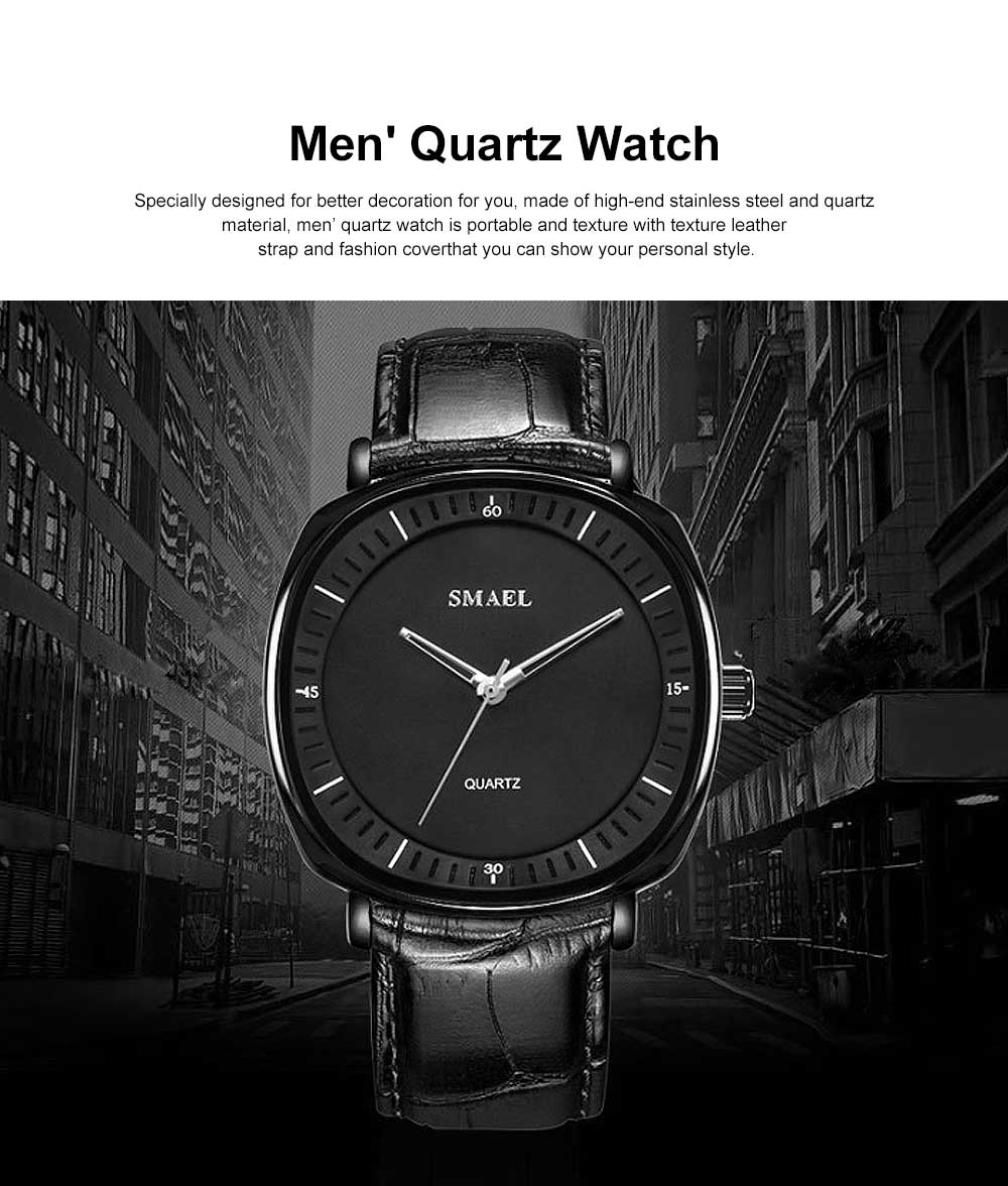 Men's Quartz Watch With Leather Band, Texture 30 Meters Water-Poof Outdoor Sports Watch 0