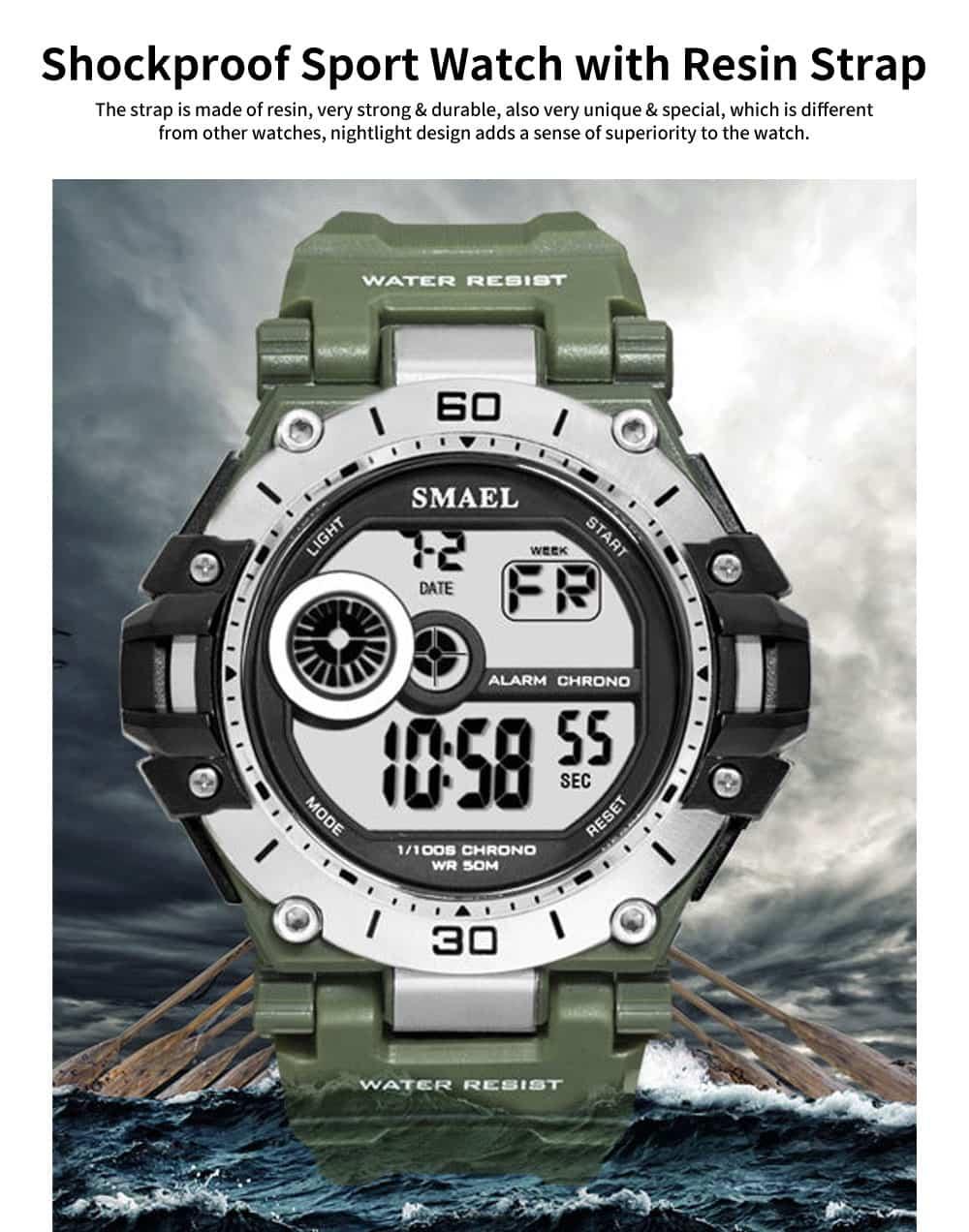 Men's Shockproof Sport Watch with Resin Strap, Digital Waterproof Watch for Outdoor Use 0