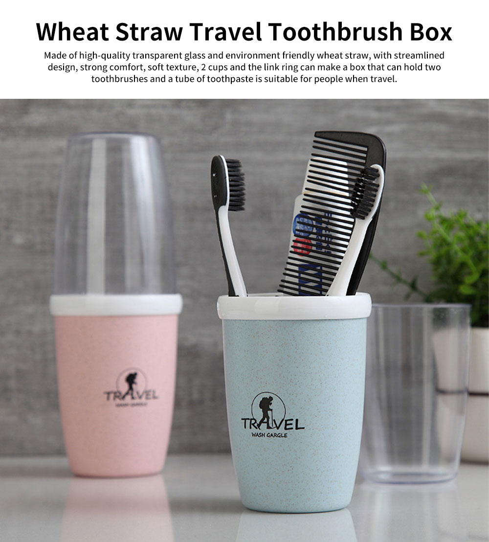 Wheat Straw Toothbrush Box, Toothbrush Travel  Container with A Transparent Cup 0