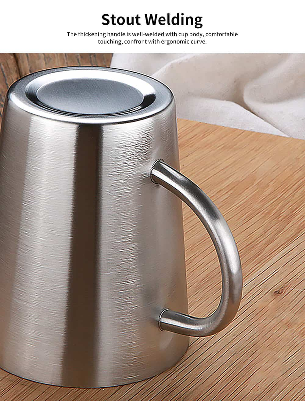 European Style Stainless Steel Mug with Double heat Insulation, Stylish Cup for Beer, Coffee, Milk, Cold Juice 3