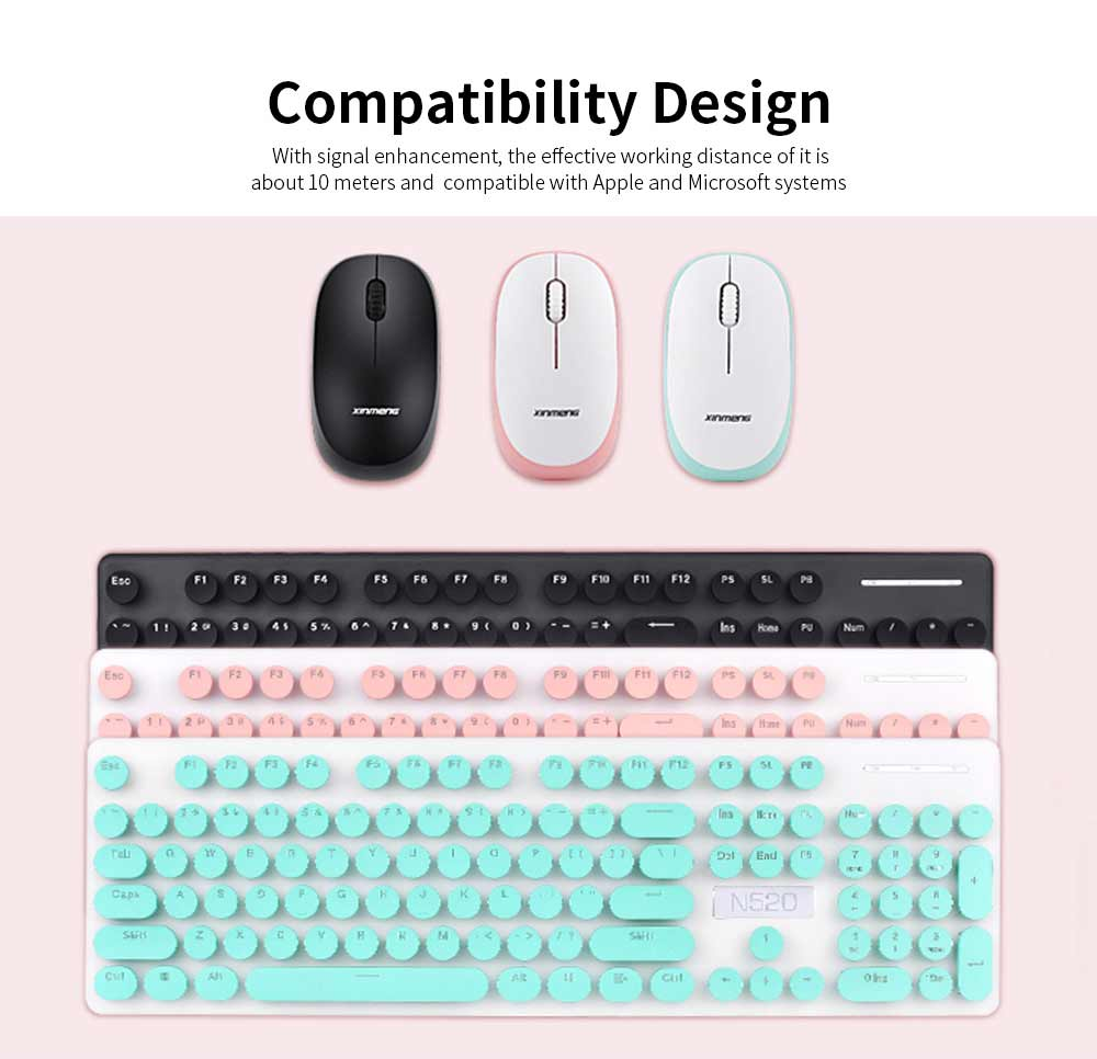 Punk Wireless Mechanical Keyboard and Mouse Set for Office Girl Women Computer 6