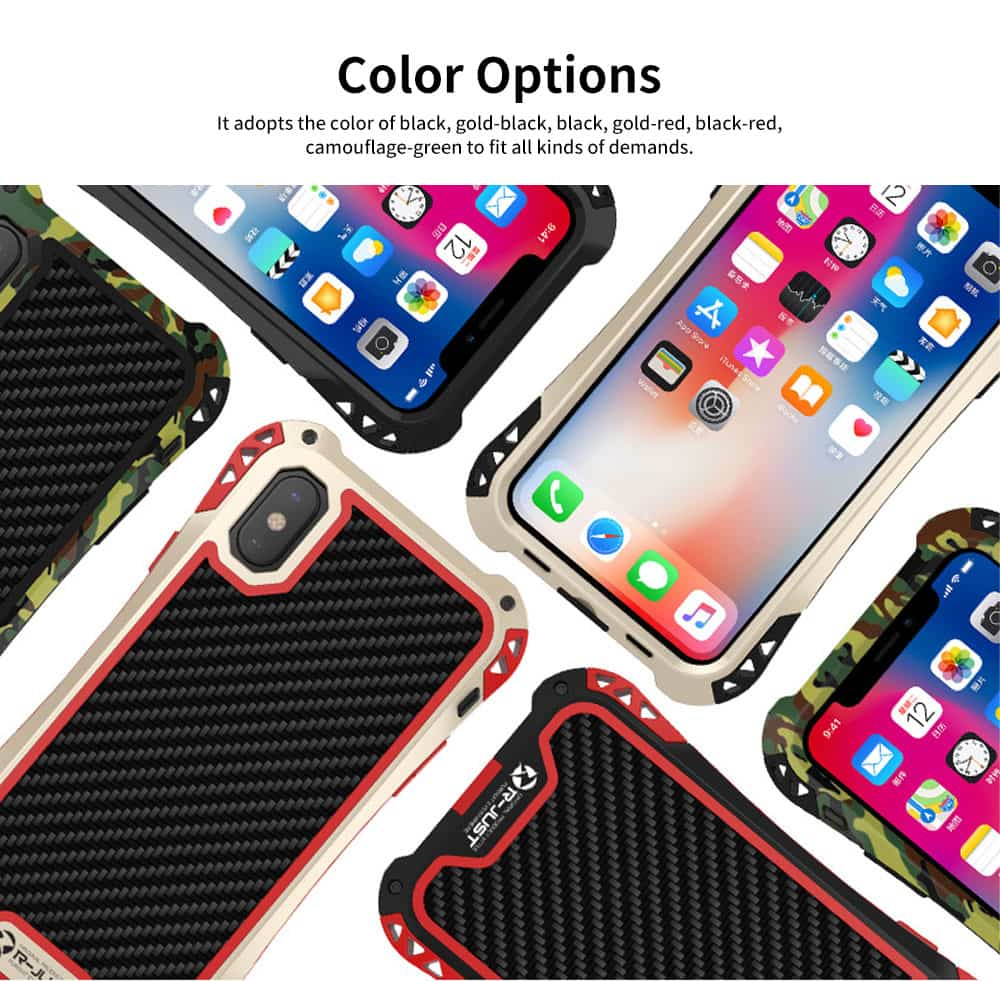 Zinc Alloy Phone Case Cover with Cushioning Soft Layer, Carbon Fiber and Tempered Glass for Different iPhone Type 1