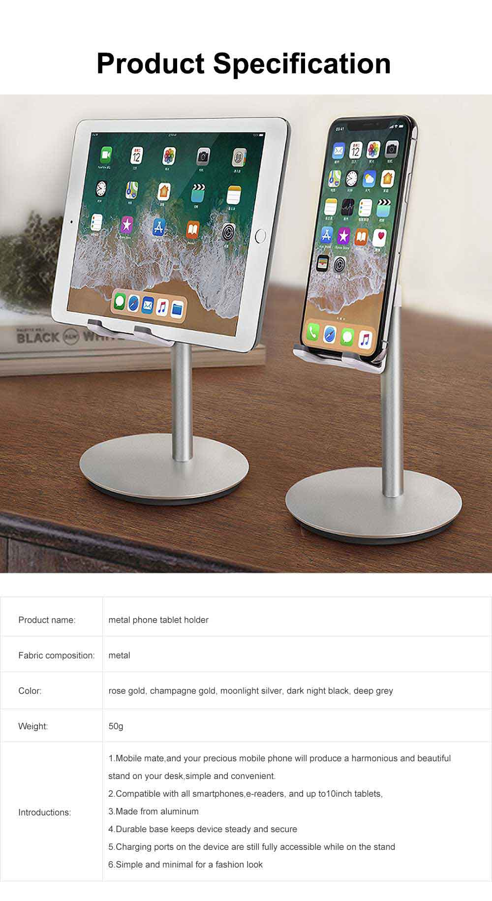 Aluminum Cell Phone Desk Stand, Desktop Universal Non-Slip Bracket Tablet Holder 6