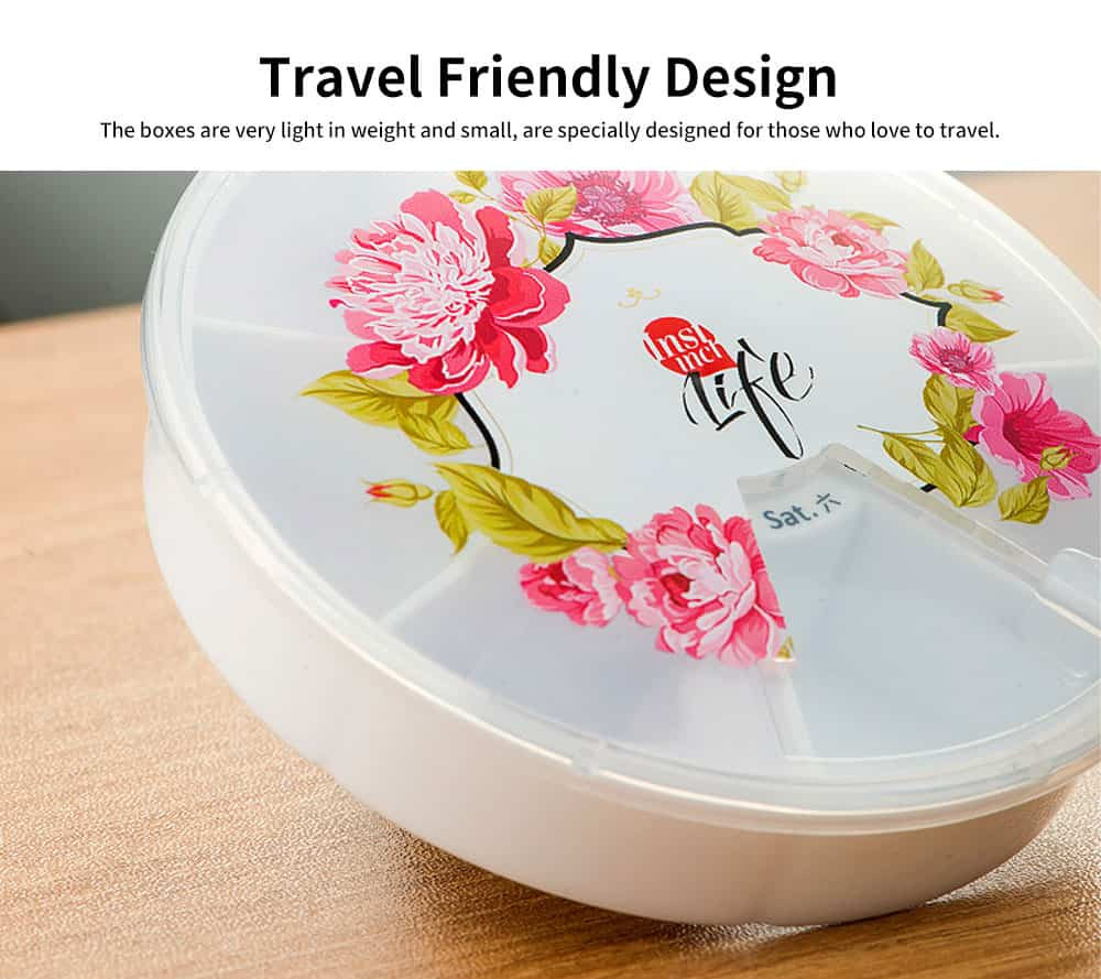Cute Weekly Pill Organizer With Flower Print, Clear 7-Sided Pill Case For Traveling, Household Use 5