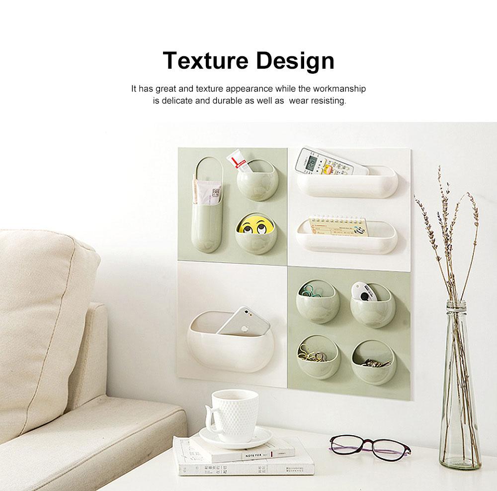 Plastic Self-adhesive Hanging Rack, Bedroom Wall Paste Storage Organizer Shelves 4