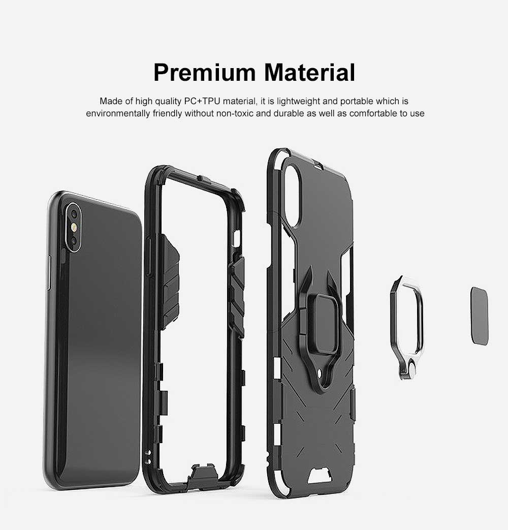Black Panther Phone Case with Ring on Back, iPhone XS MAX Anti-fall Phone Shell 1