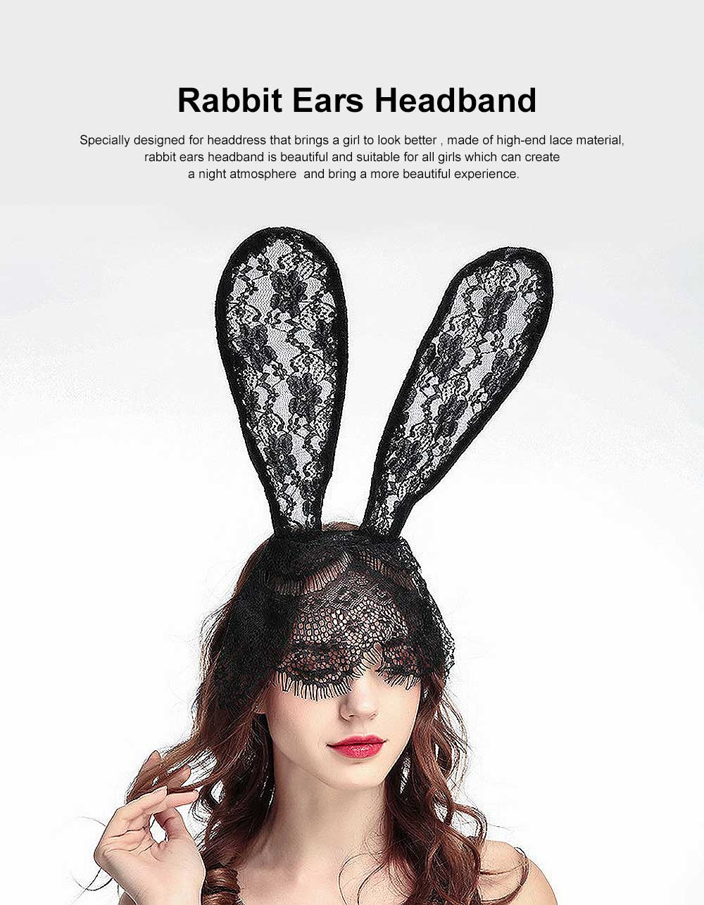 Women Lace Nightclub Party Headwear with Rabbit Ears Design, Headband for Costume Accessory 0