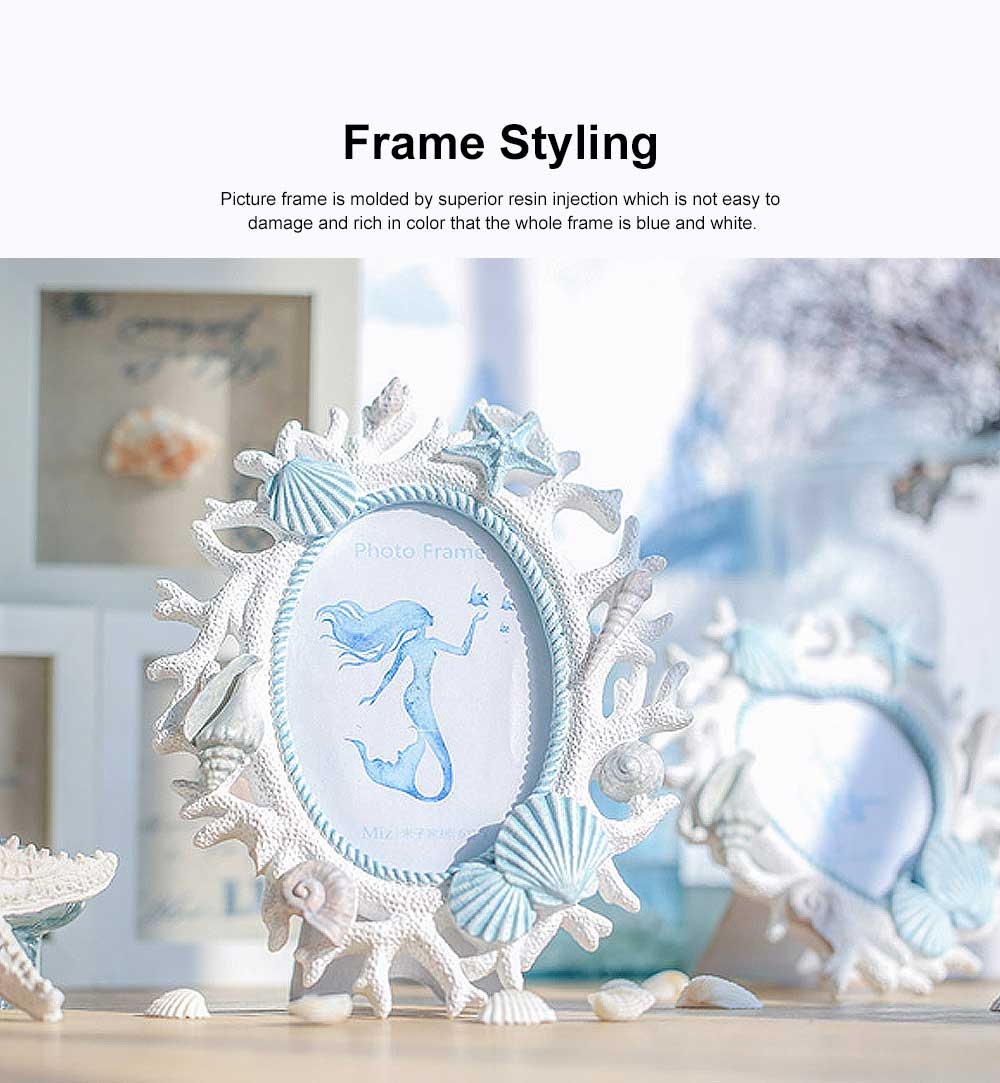 Ocean-style Photo Frame with Coral & Shells for Wedding Anniversary Gifts, Wall Hanging Desktop Photo Texture Resin Frame 4