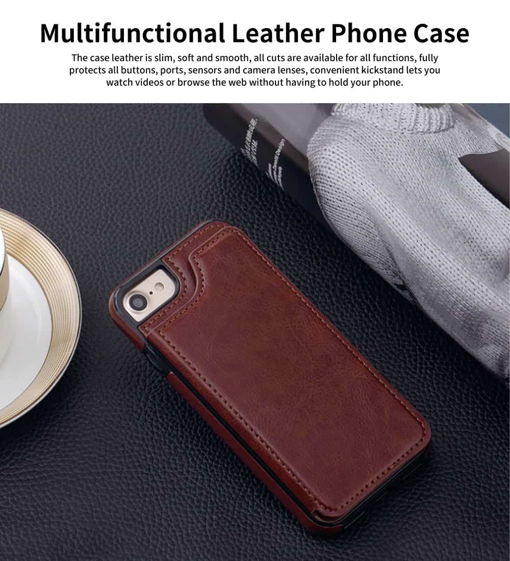 Multifunctional Leather Phone Case with Card Slot, Smart Phone Cover Case for iPhone XR, Max 7/8 6