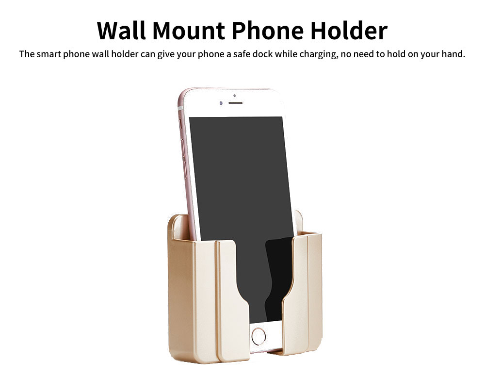 Wall Mount Phone Holder with Adhesive Strips, Charging Holder Compatible with iPhone, Smart Phone 1