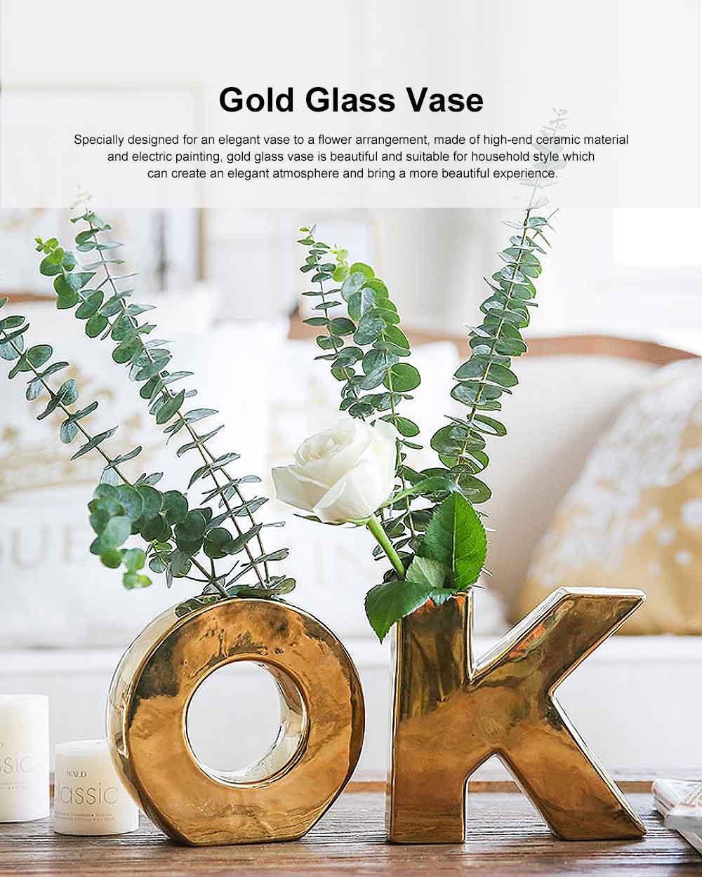 Gold Ceramic Vase with OK Shape & Non-slip Bottom, Electric Paint Spraying Vase 0