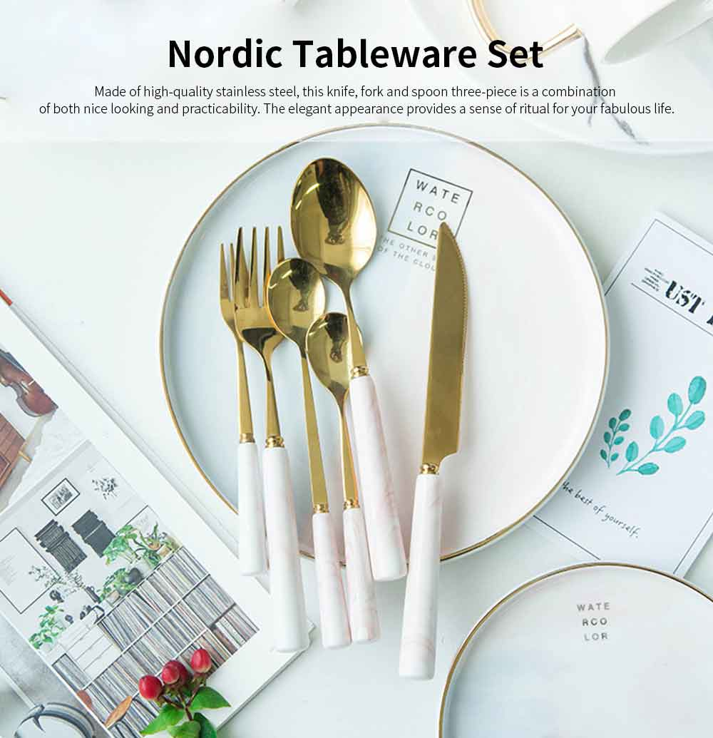 Nordic Style Stainless Steel Stake Knife, Fork and Spoon Set, Marbling, Three-piece 0