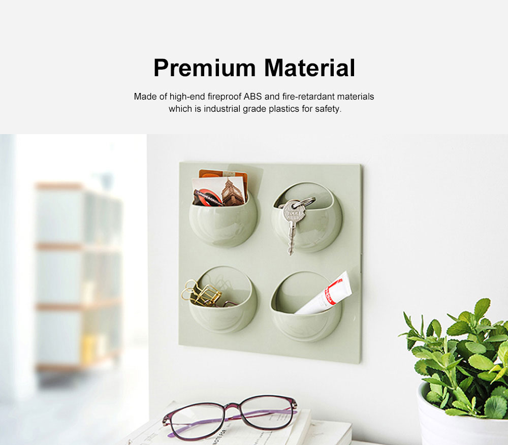 Plastic Self-adhesive Hanging Rack, Bedroom Wall Paste Storage Organizer Shelves 1