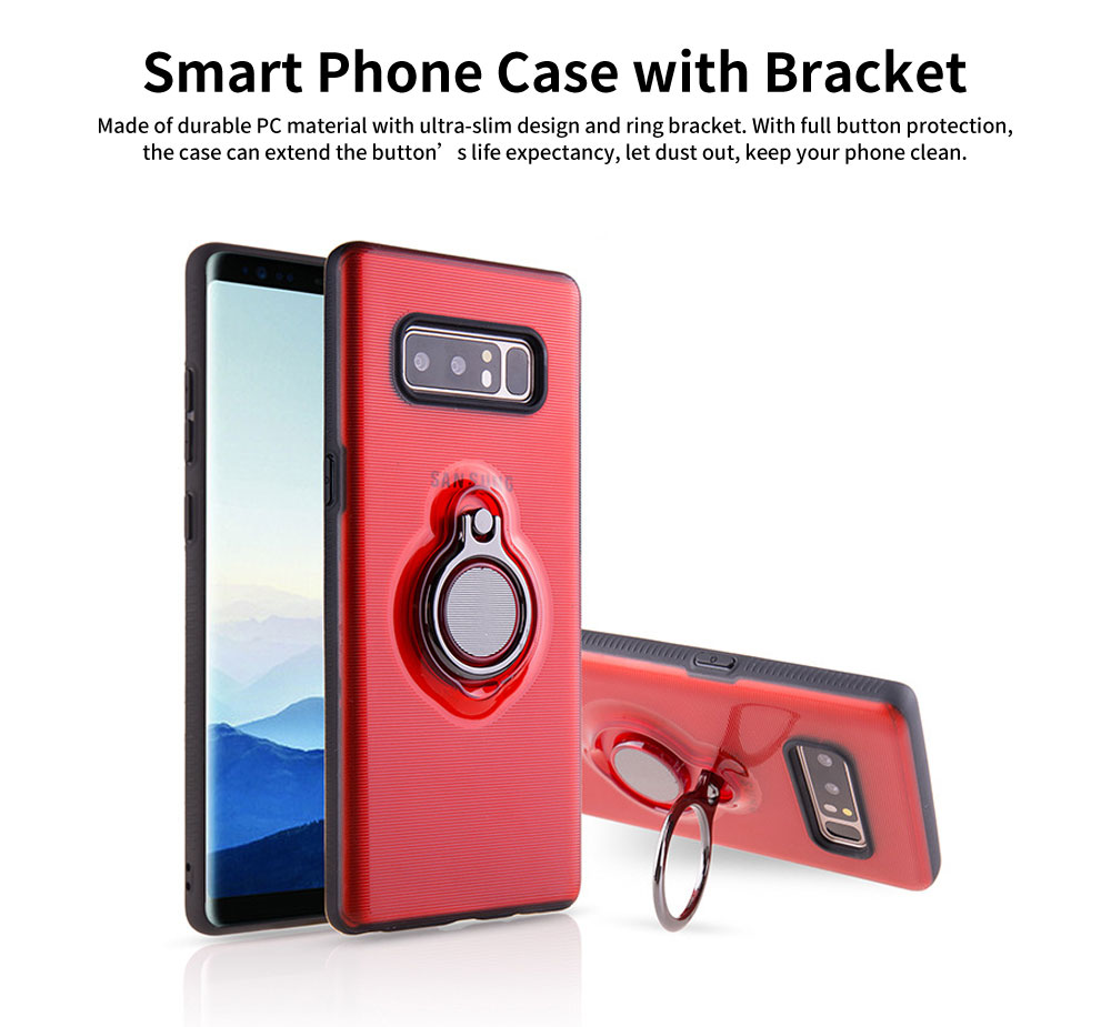Transparent Smart Phone Case with Ring Bracket, Shatter Resistant Protection Case for Samsung Note 8 Galaxy Note 9 0