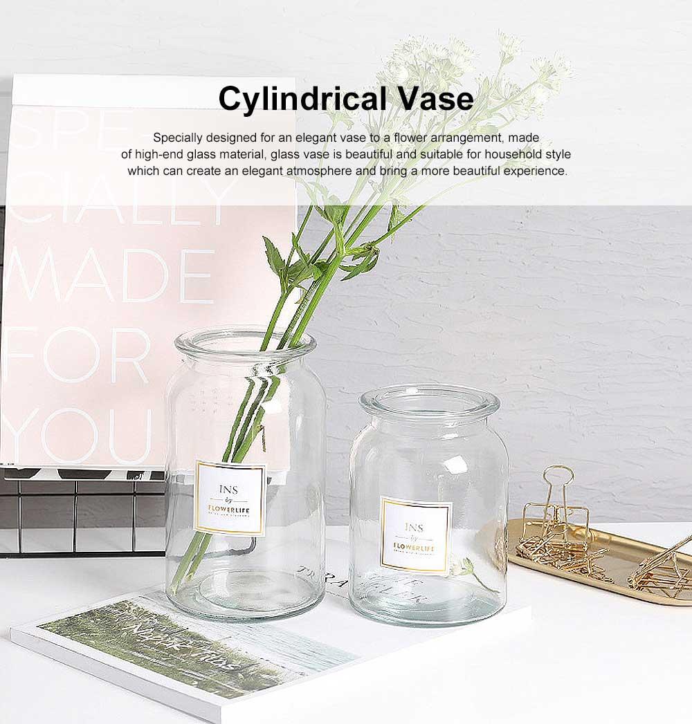 Transparent Glass Cylindrical Vase With Non-Slip Bottom 0
