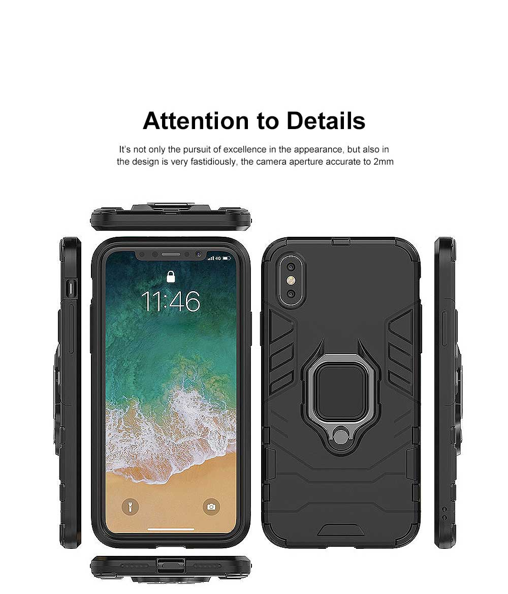 Black Panther Phone Case with Ring on Back, iPhone XS MAX Anti-fall Phone Shell 13