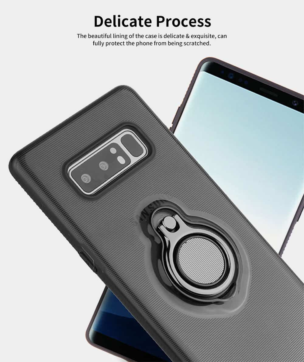 Transparent Smart Phone Case with Ring Bracket, Shatter Resistant Protection Case for Samsung Note 8 Galaxy Note 9 5