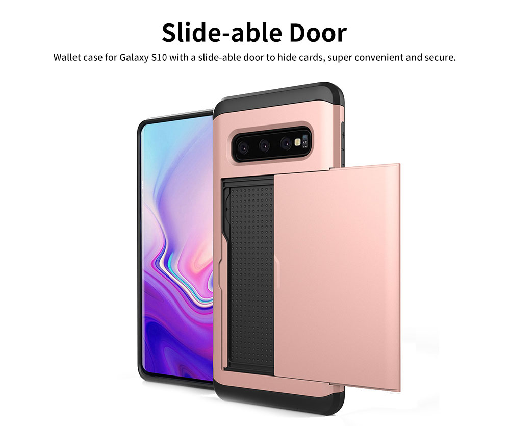 Protective Hard Shell for Samsung Galaxy S10, Phone Case Wallet Credit Card Holder with Sliding Door 1