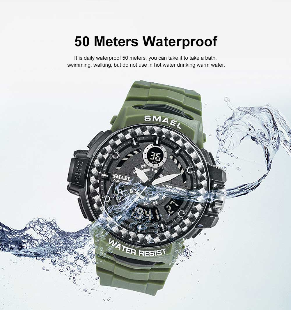Digital Watches with Resin Strap Multifunctional Watch Supporting Luminous Mode 50 Meters Water-poof & Alarm Clock 4