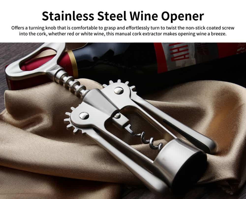 Stainless Steel Wine Opener, Handle Pressure Multifunctional Corkscrew for Red Wine, Beer 0