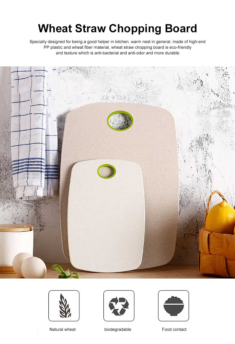 Biodegradable Eco- friendly Cutting Board, Wheat Straw Chopping Board for Cutting Vegetables, Fruits 0