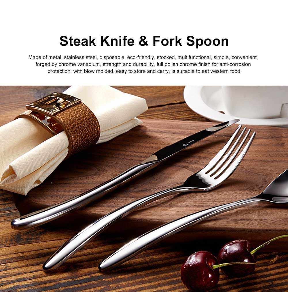Stainless Steel Cutlery Steak Knife and Fork Spoon Set 0