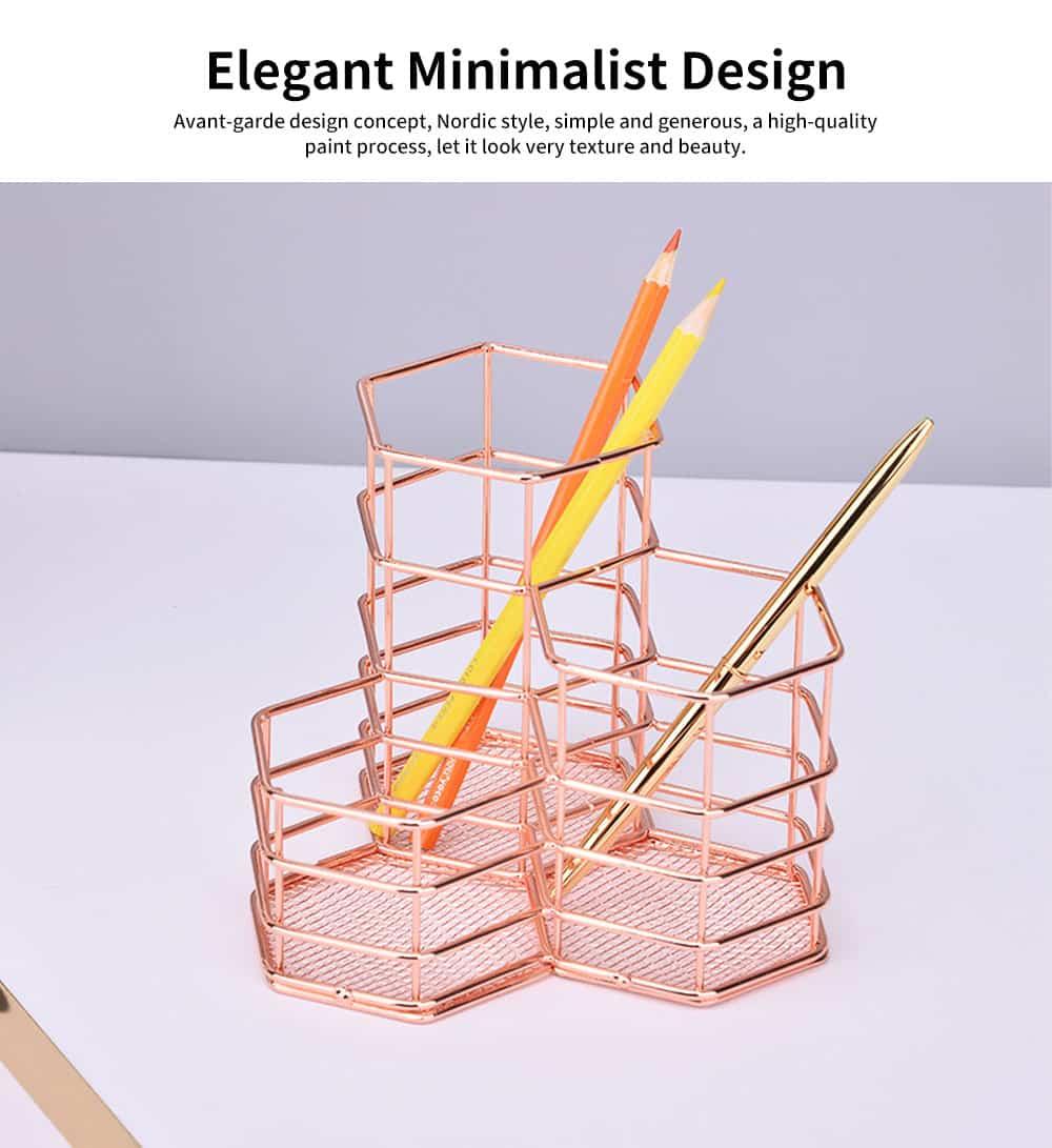 Metal Wire Hexagon Shelves, Desktop Storage Book Rack Penholder 4