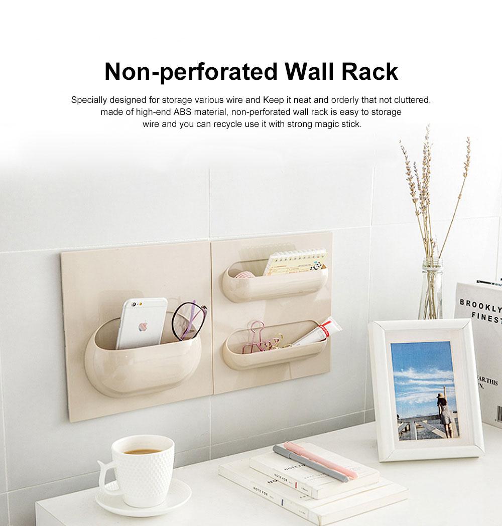Plastic Self-adhesive Hanging Rack, Bedroom Wall Paste Storage Organizer Shelves 0