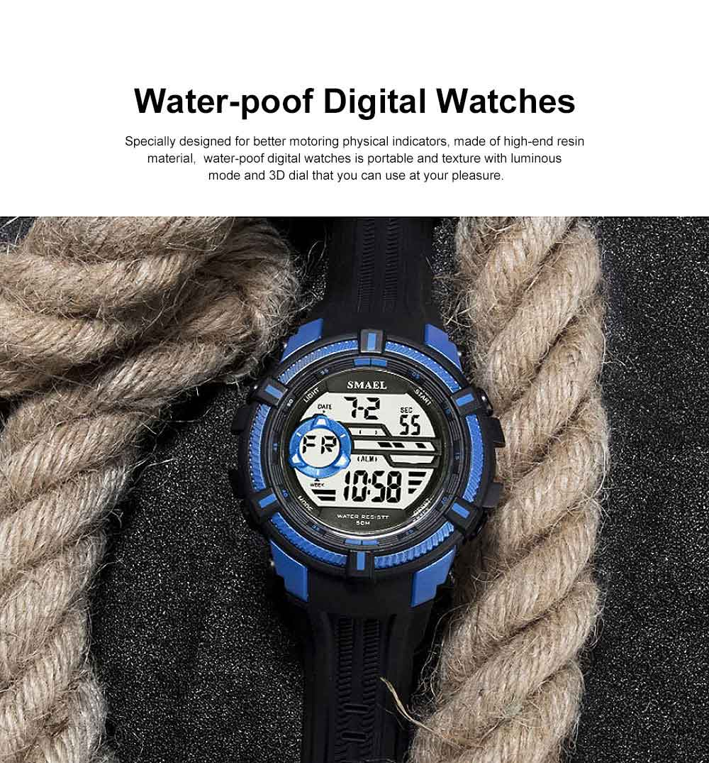 Multifunction Smart Electronic Watch, Luminous Mode, Water-proof, with Resin Strap 0