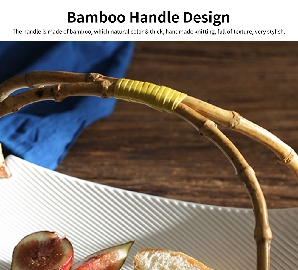 Stylish Ceramic Plates with Bamboo Handle, Quadrilateral Tableware for Salad, Fruit 2