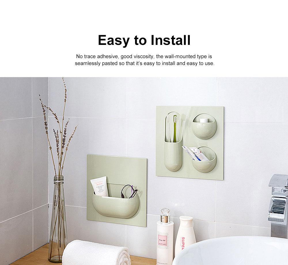 Plastic Self-adhesive Hanging Rack, Bedroom Wall Paste Storage Organizer Shelves 2