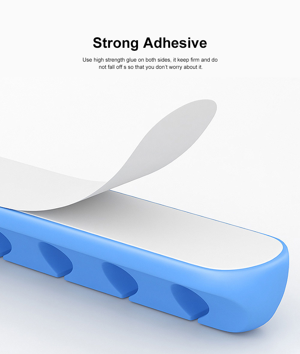 Adhesive Cable Organizer, Multifunctional Soft Silicone Thread Clip for Mobile Phone Charging Cable 5