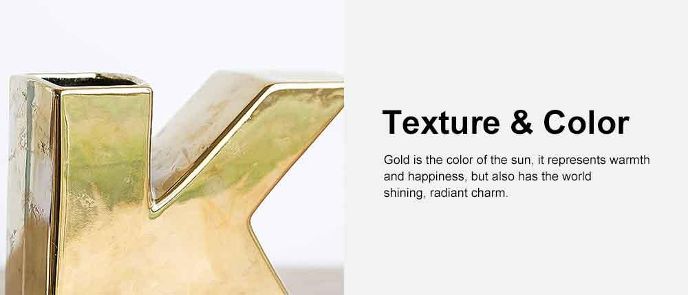 Gold Ceramic Vase with OK Shape & Non-slip Bottom, Electric Paint Spraying Vase 2