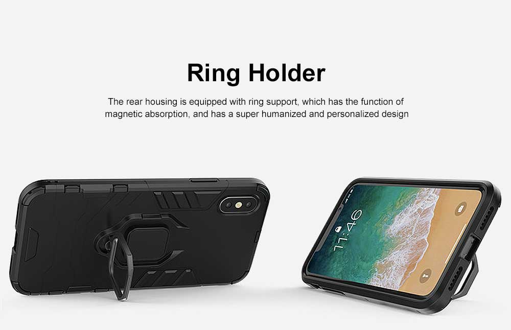 Black Panther Phone Case with Ring on Back, iPhone XS MAX Anti-fall Phone Shell 5