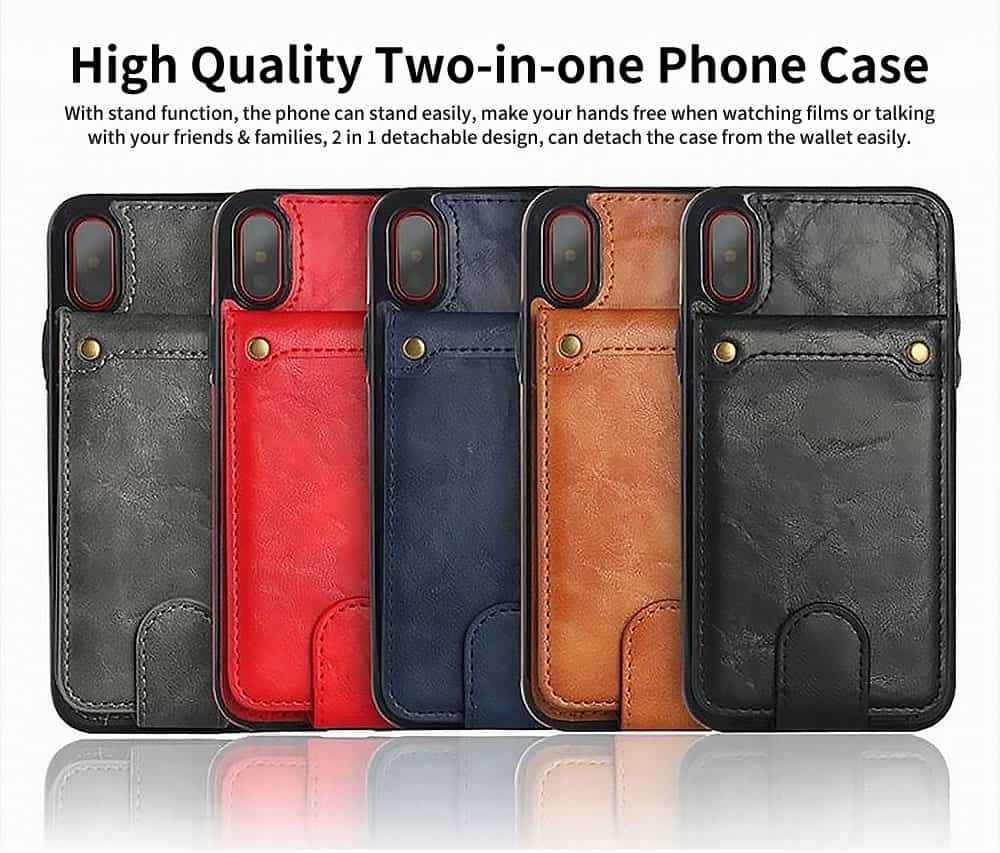 Detachable Leather Wallet Case for iPhone 7/8 Plus, iPhone X, High Quality Two-in-one Phone Case 0