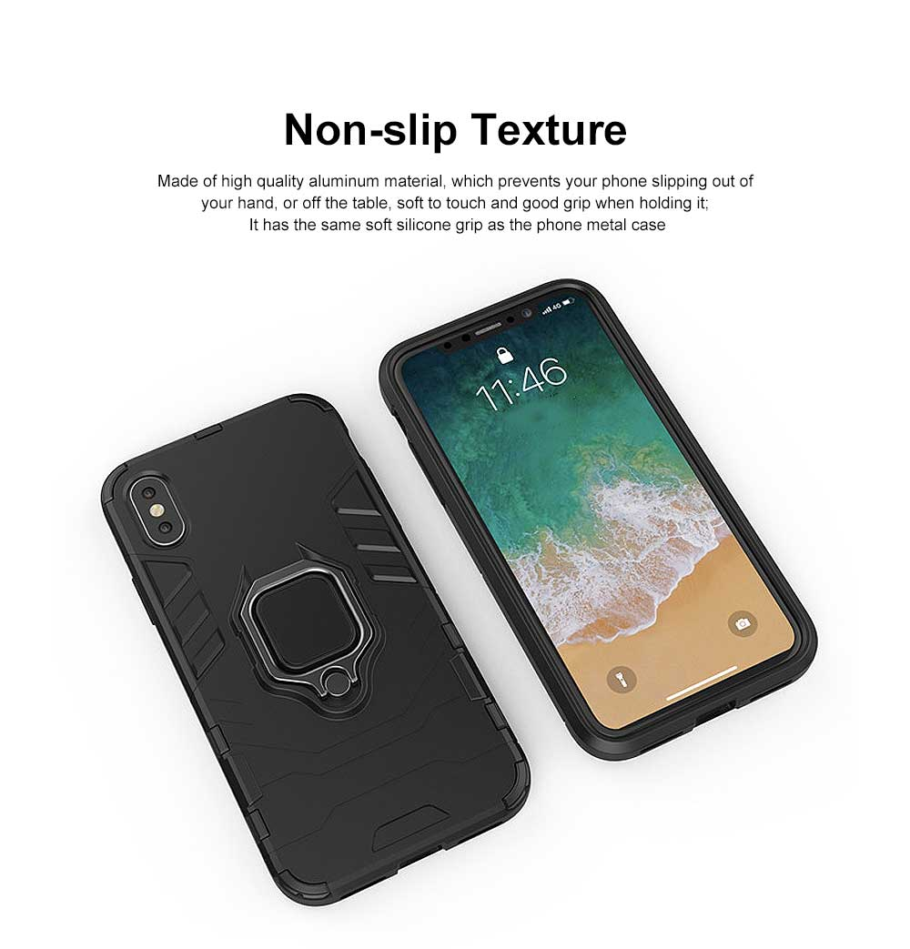 Black Panther Phone Case with Ring on Back, iPhone XS MAX Anti-fall Phone Shell 11
