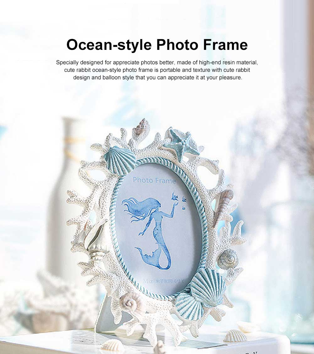 Ocean-style Photo Frame with Coral & Shells for Wedding Anniversary Gifts, Wall Hanging Desktop Photo Texture Resin Frame 0