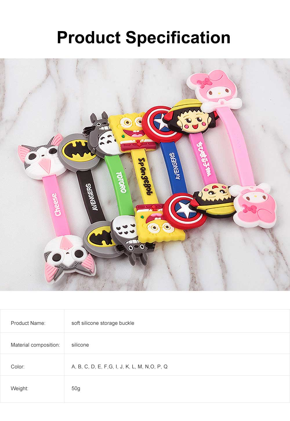 Soft Silicone Wire Cable Organizer, Cartoon Animals Line Manager for Data Cable 6