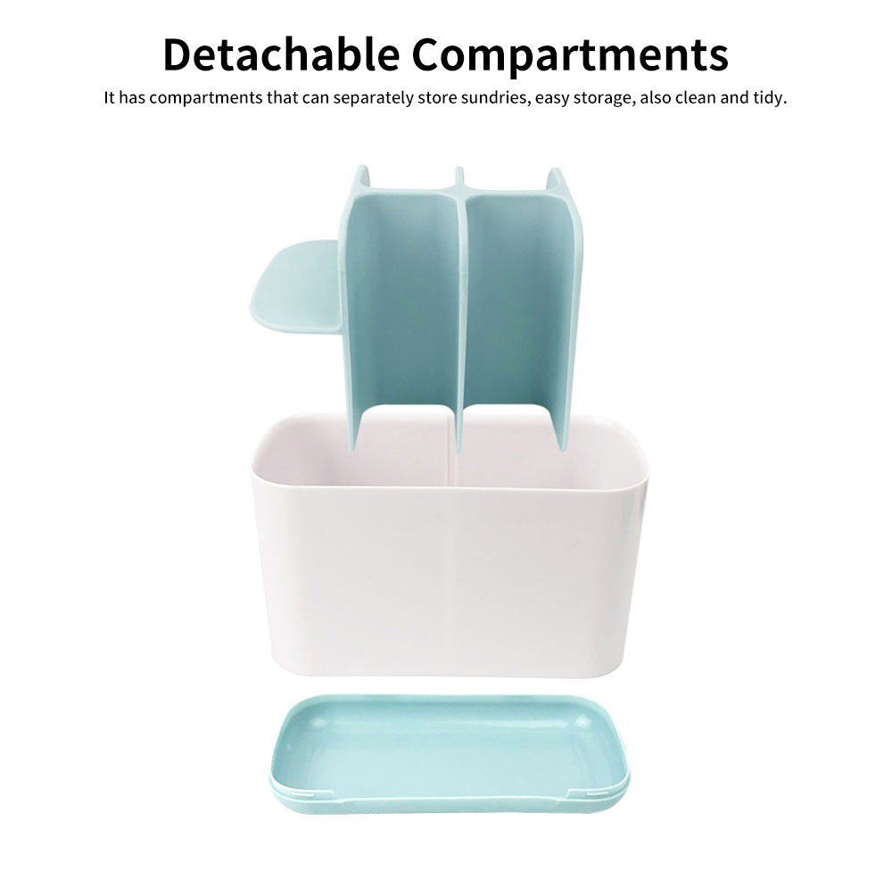 Multifunctional Toothbrush Stand Holder, Toothbrush Storage Shelf With Dividers 2