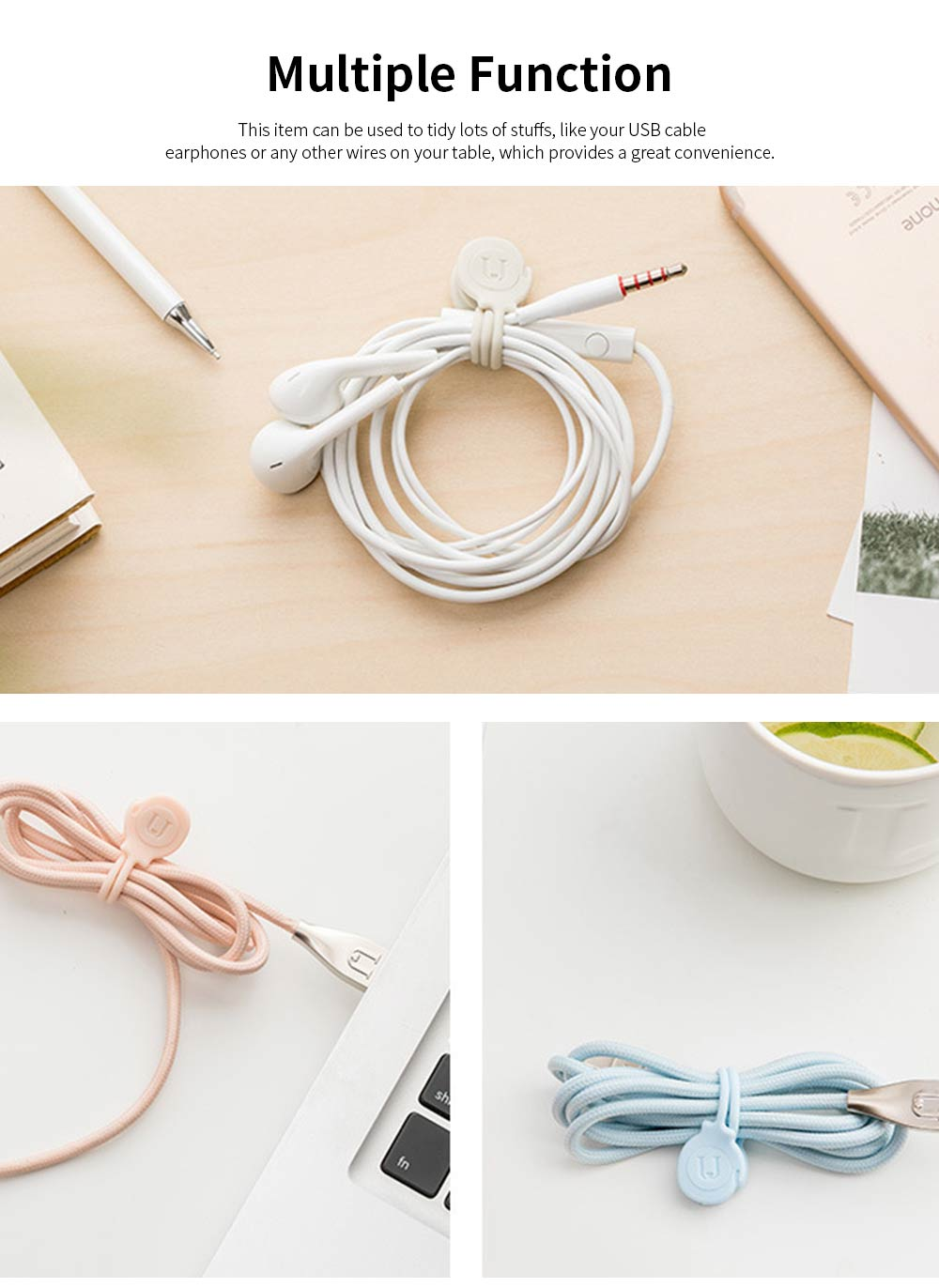 USB Cable Collator for Charging Lines, 3PCS Silicone Magnetometric Band 1