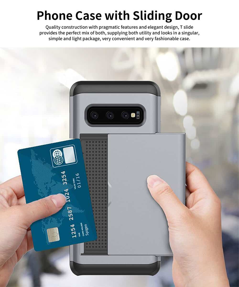 Protective Hard Shell for Samsung Galaxy S10, Phone Case Wallet Credit Card Holder with Sliding Door 0